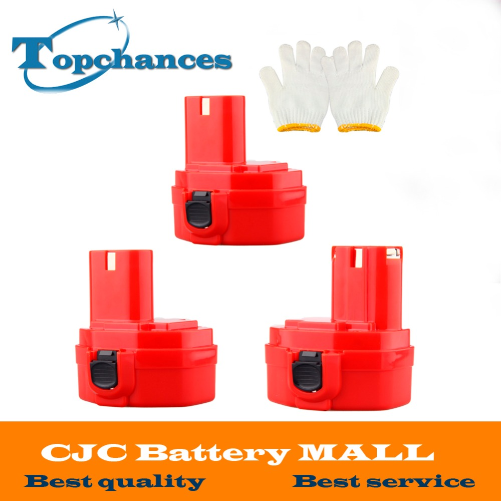 3 Pcs <font><b>14.4V</b></font> 2000mAh Replacement Battery for Makita 1420 1422 1433 1434 1435 1435F 4000 6000 Series 192699-A 193158-3 image