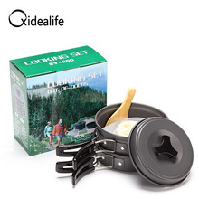 8Pcs Portable Outdoor Travel Cooking Pot Sets Backpacking Hiking Picnic Camping Aluminum Alloy Tableware Set Non-stick Cookware