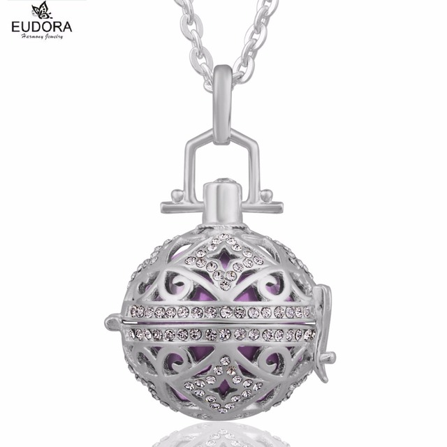 Pregnancy Gift Eudora Harmony Bola Ball Jewelry Silver Locket Cage with  Angel Caller Chime Ball Pendant Necklace For Pregnant