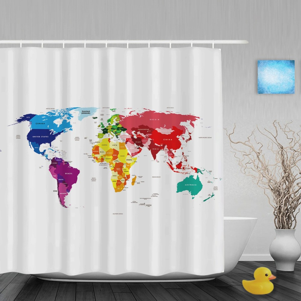 Colorful shower curtains - Colorful Word Map Home Decor Shower Cutains Traveler Collection Bathroom Shower Curtains Polyester Waterproof Fabric With