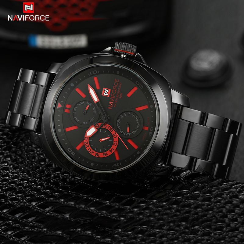 Top Luxury Brand Naviforce Men Watches Fashion Men's Quartz Clock Male Full Steel Waterproof Army Military Sports Wrist Watch weide new men quartz casual watch army military sports watch waterproof back light men watches alarm clock multiple time zone