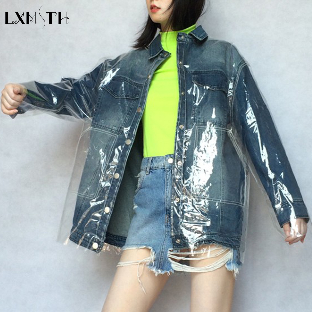 LXMSTH 2019 Spring Autumn Fashion Denim Patchwork Jacket Pvc Coat Women Streetwear New Casual Slim Transparent Jacket Waterproof