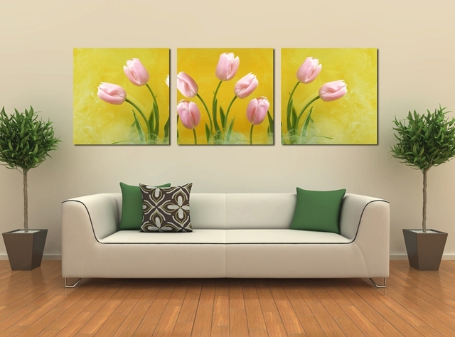 3 Piece Hot Sell Modern Wall Painting Beautiful Pink Tulips Painting ...
