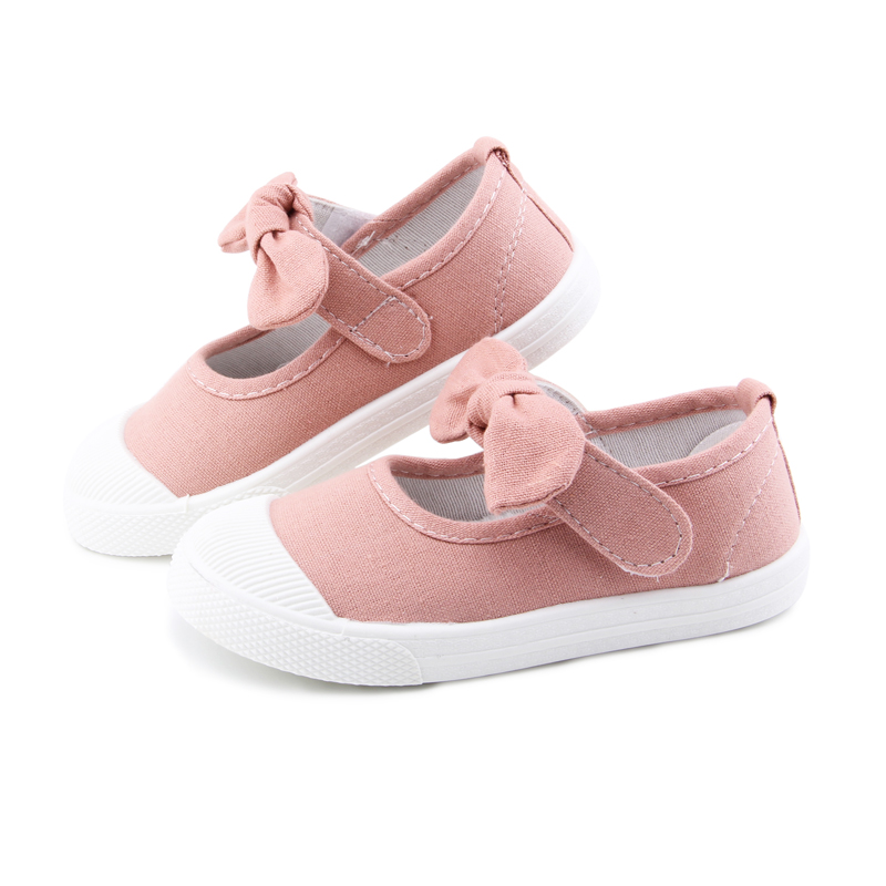Baby Girl Shoes Canvas Casual Kids Shoes With Bowtie Bow-knot Solid Candy Color Girls Sneakers Children Soft Shoes 21-30 7