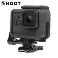Atirar caso quadro de proteção montagem para gopro hero 7 6 5 câmera preta fronteira protetora para go pro 6 5 ação acessório da câmera