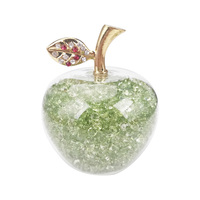 Green 80mm 1 piece Crystal Glass Apple Paperweight Diamonds Home Decor Ornaments Fruit Figurines Gifts Souvenirs