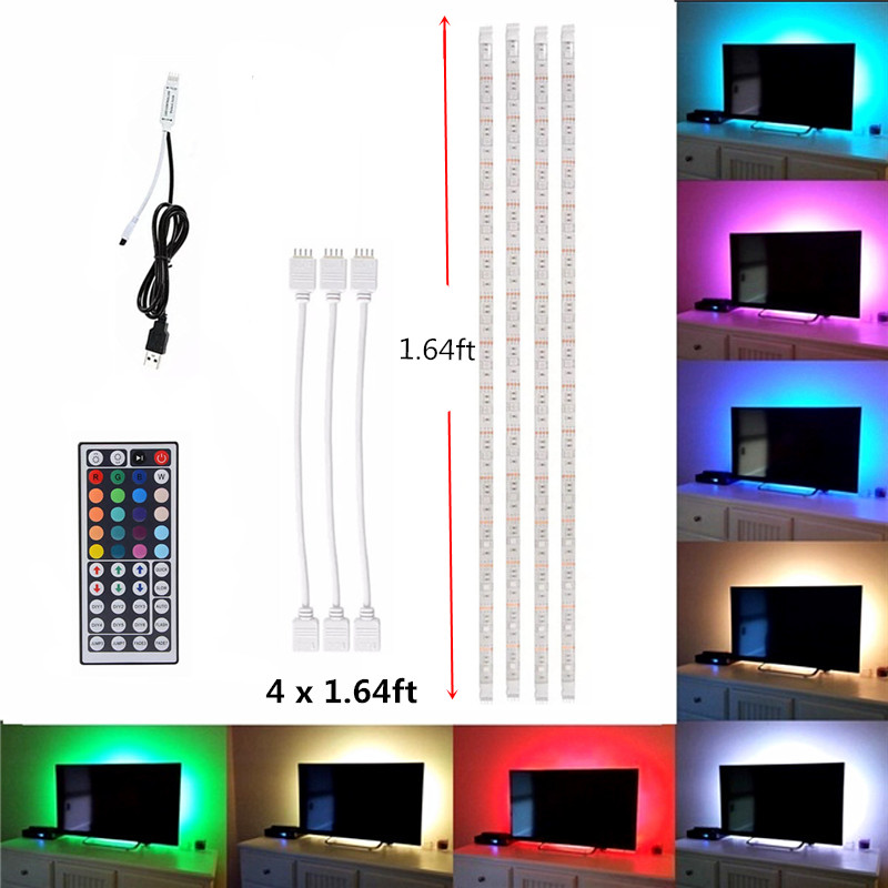 5050 Rgb 5 V Usb Led Tira De Luz Multi Color Control Remoto Flexible Lámpara De La Caja De La Computadora Para Pc Monitor Tv Iluminación De Fondo
