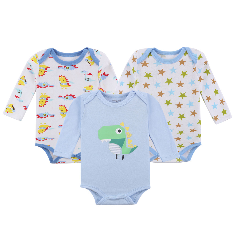3pieces / lot Newborn Autumn Cotton Body Babybody 100% Bomull - Babykläder