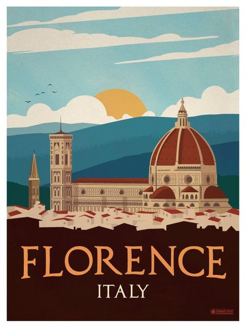 Sunrise Florence Travel Italy View Landscape Vintage Retro