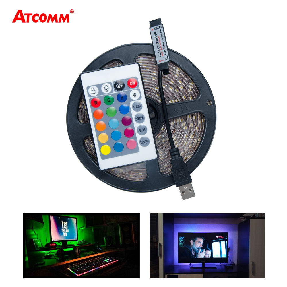 USB RGB LED Strip Light 5V Diode Ribbon SMD 2835 3528 Tape Lamp HDTV TV Desktop PC Screen Backlight With 24 Key Controller 50pcs for maintenance konka changhong amoi lcd tv backlight led strip lights with the east bay 1210 3528 2835 smd led beads 6v