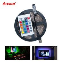 USB RGB LED Strip Light 5V Diode Ribbon SMD 2835 3528 Tape Lamp HDTV TV Desktop PC Screen Backlight With 24 Key Controller