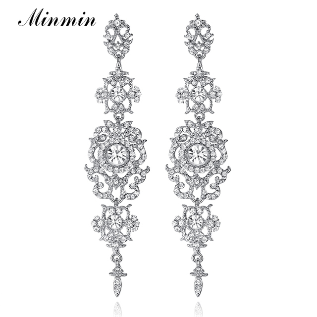 Minmin Silver Color Crystal Wedding Long Earrings Floral Shape Chandelier Earrings for Women Brides Bridesmaid EH182