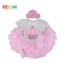 Wholesale Cheap Baby Doll Dress with Cake Pattern For 22-23 inch Reborn Baby Pink Bubble Skirt Doll(China)