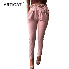 Articat Casual Ruffles Pants Women 2017 Summer Beach Party Office Trousers Brief Streetwear Elastic High Waist Harem Pant Female