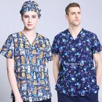 Kadın Hastane Güzellik Klinik Hayvan Baskı Veteriner Mediko Üniforma Hemşire Suit Bluz Cerrahi Robe Tıbbi Scrubs Üst