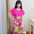 Hot Sale Summer Short Sleeve Cotton Robe Dress Ladies Casual Lounge Sleepwear Nightdress Flower Bathrobe Gown One Size  A-119