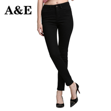 Alice & Elmer Skinny Jeans Woman Jeans For Girls Jeans Women High Waist Stretch Jeans Female Pants Shortened Black(China)