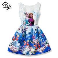 2017 New Summer Girls Dress Anna Elsa Dress Vestidos Teenagers Butterfly Print Princess Party Dress For