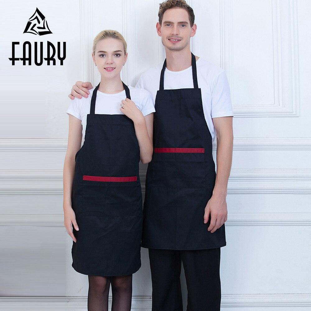 Unisex Halter Neck Long Beauty Salon Cafe Bakery Waiter Work Uniforms Apron Chef Kitchen Home Cooking Wear Pocket Apron