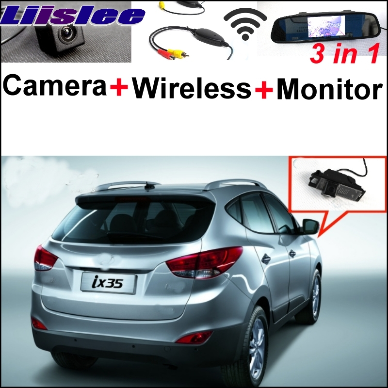Liislee Special Rear View Camera + Wireless Receiver + Mirror Monitor Easy Back Up Parking System For Hyundai ix35 2010~2017 3 in1 special rear view camera wireless receiver mirror monitor easy diy back up parking system for kia sportage r 2011 2015