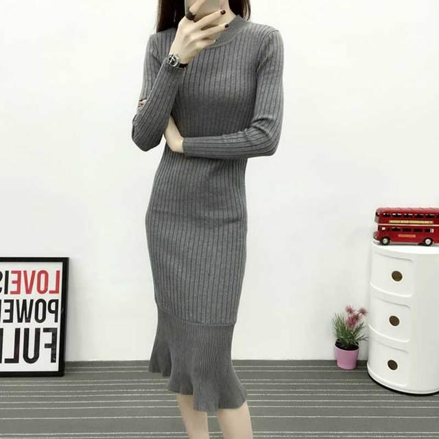 2018 Women Winter Warm Dress Knitted Sweater Bodycon Slim Dress Fish Tail Sweater Long Sleeve Trumpet Mermaid Midi Dresses Party