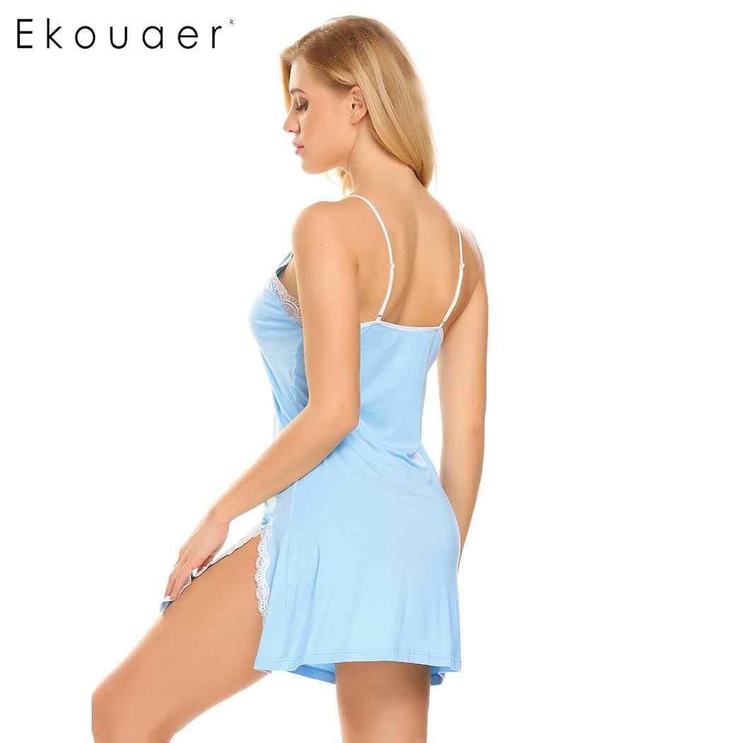 7ab8a2de70da Ekouaer Для женщин Пеньюар сексуальное нижнее белье пижамы v-образным  вырезом ...