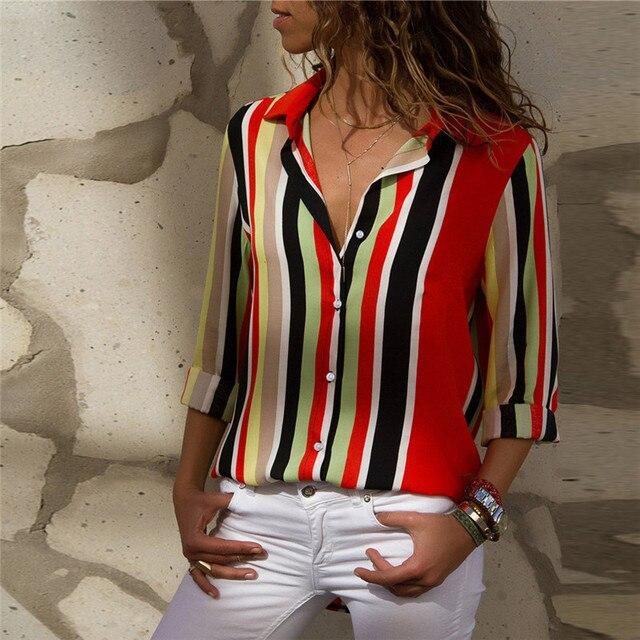 Ladies Long Sleeve Chiffon Striped Shirt 6