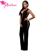 Dear-Lover Jumpsuit Long Pants Ladies Black String Hollow Out Sexy Nightclub Rompers Overalls for Women Macacao Feminino LC64111