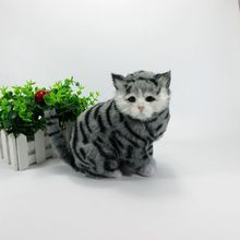 Simulation gray cat polyethylene furs cat model funny gift about 18cmx13cmx11cm