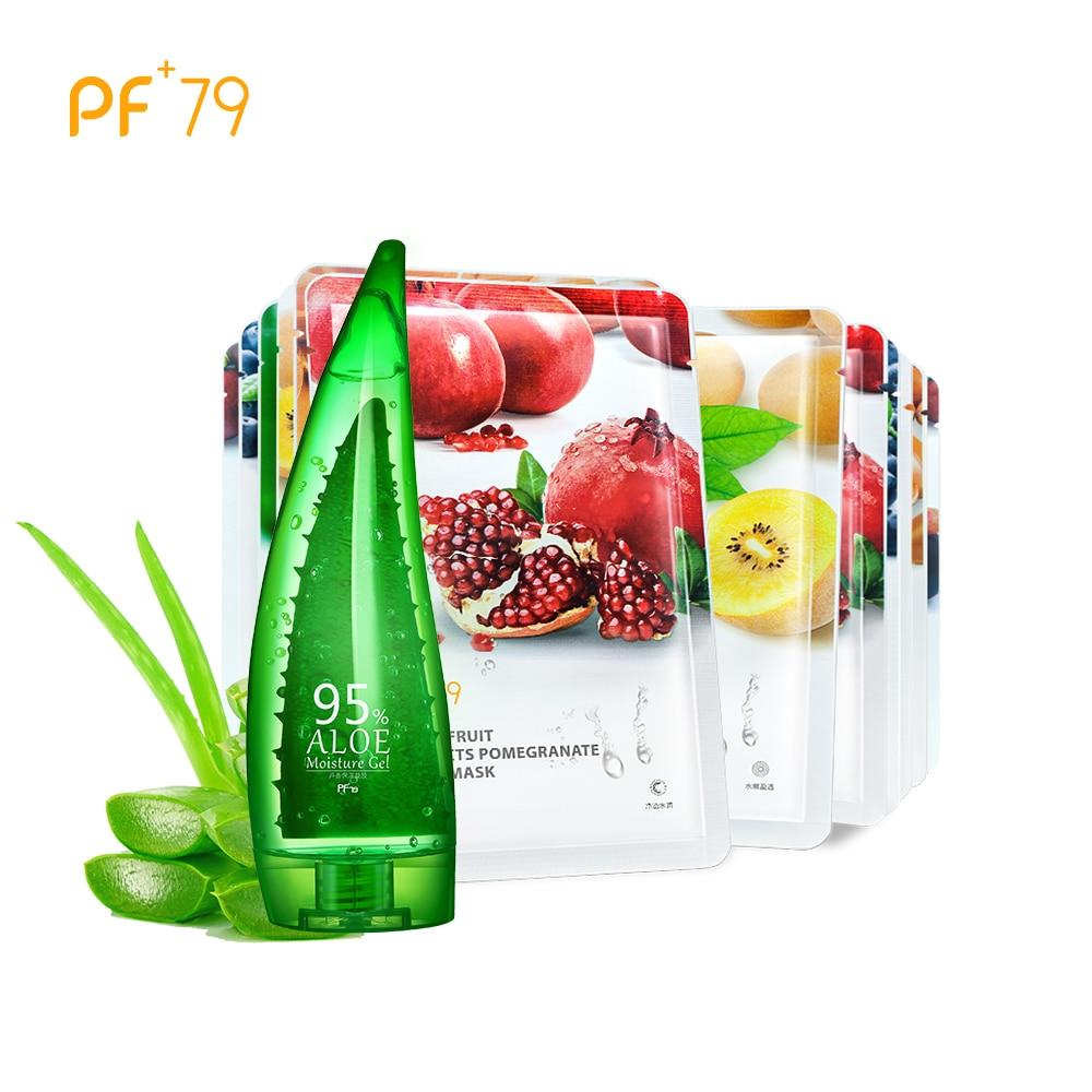 PF79 Hydrating And Moisturizing Set 260ml Aloe Vera Gel+6pcs Face Mask Sheet Mask Facial Mask Oil Control Blackhead Removal