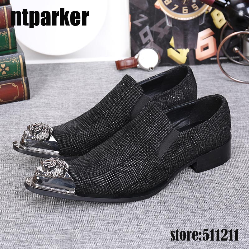 ntparker New style front metal Toe men shoes Fashion Pointed Toe Men Oxfords wedding and party slip on mens Dress Shoes!ntparker New style front metal Toe men shoes Fashion Pointed Toe Men Oxfords wedding and party slip on mens Dress Shoes!