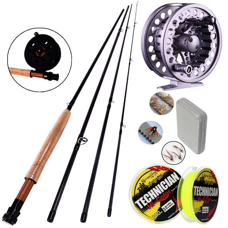 Sougayilang 4 Seksjoner Carbon Fly Fiske Rod Set 2.7M # 5/6 Fly Rod og Fiske Reel Fly Lure 100m Line Combo Kit Fishing Tackle