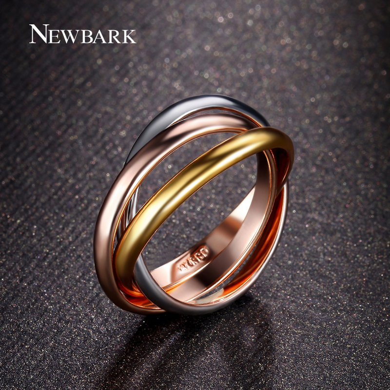 NEWBARK Brand 3 Circles Twisted Women Rings Yellow Rose Gold Silver Color Zinc Alloy Sale Women Ring Cute Jewelry Anel Feminino ...