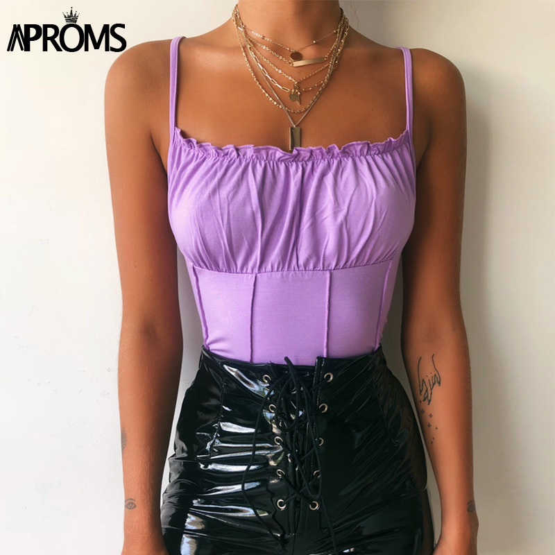 Aproms Elegant Ruffles Pleated Straps Camis Women Summer Cotton Crop   Top   Streetwear Tube Sexy Pink Bustier Feamle   Tank     Tops   2019
