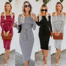 Women's off shoulder printed stripe double Midi Bodycon Dress Belt full sleeve knitted Autumn Winter Slash Neck  Dress 6