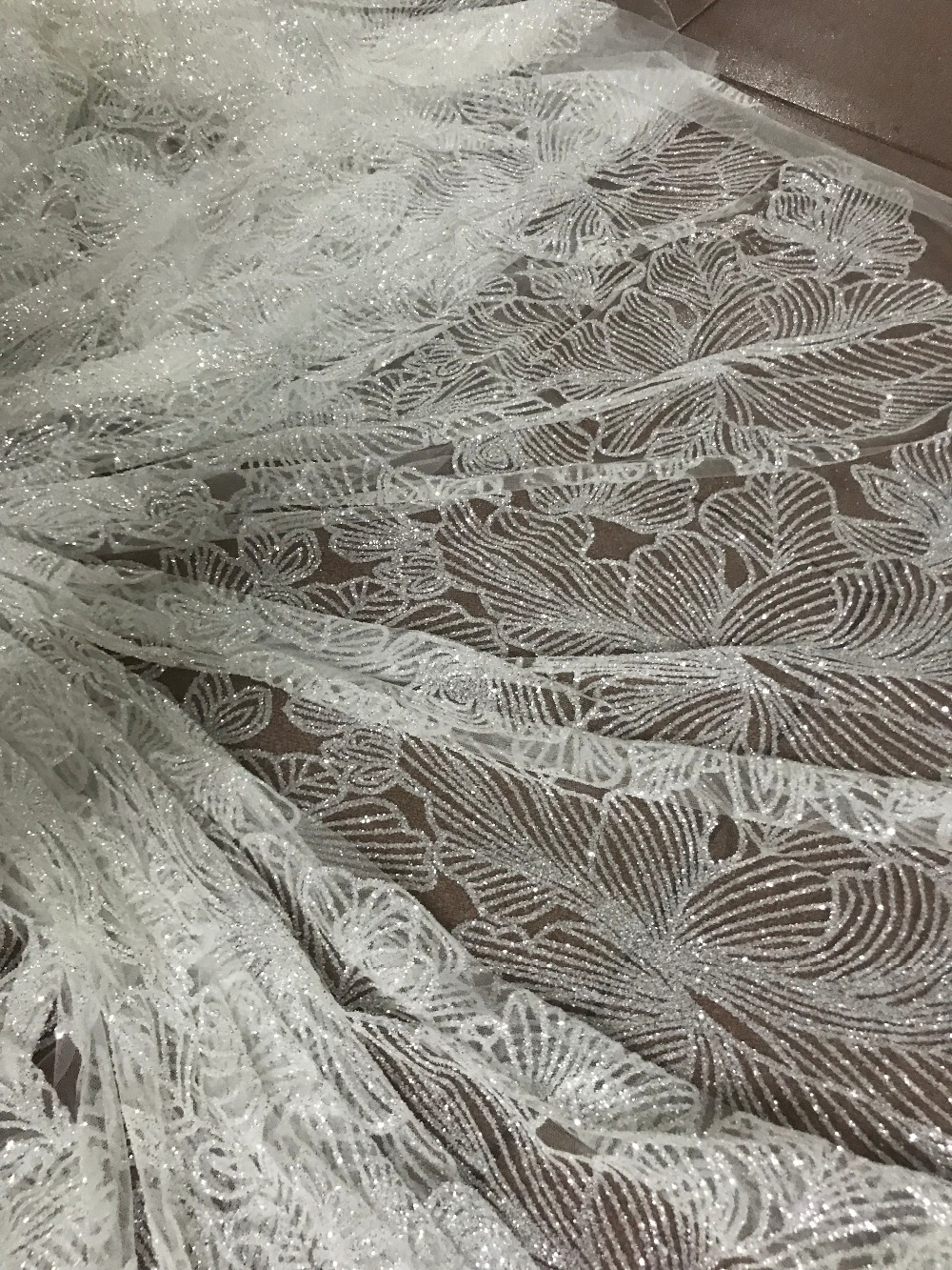Hot selling Sat 10.2716 glued glitter sequins lace fabric African French net tulle Lace Fabric for party-in Lace from Home & Garden    2