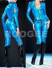 Fashionable Latex Wear For Adults metallic blue with belt