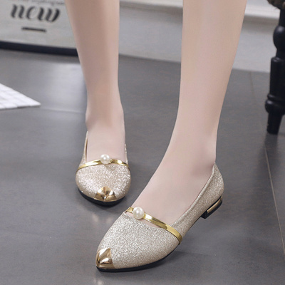 0c40f45a27c 2018 new golden wedding shoes female flat low heel comfortable casual  single shoes pointed shallow mouth pearl bridal shoes