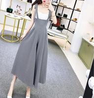 Self tie strap wide pants overalls Spring gray sleeveless High Waist Free office jumpsuits For women Elegant overalls
