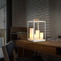 creative modern white table lamps living room bedroom bedside lamp Iron Candle desk lamps creative bar E14 table light ZA9837