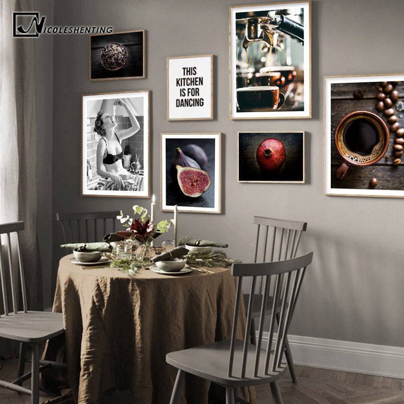 US $2.79 50% OFF Food Kitchen Poster Coffee Vegetable Wall Art Canvas Print  Painting Decorative Picture Modern Minimalist Dining Room Decoration-in ...