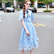 ФОТО high quality runway designer 2017 summer lady office party casual fashion bowknot hollow embroidery dress