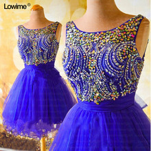 Sexy Short Royal Blue Formal Prom Party Dress For Graduation Cocktail Prom  Dresses With rhinestones Vestidos De Formatura 2018 a319c726ac37