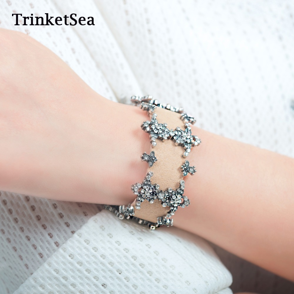 Vintage Delicate Handmade Leather Bracelets For Women Fashion Rhinestone Jewelry Accessories Charm Band Bracelet