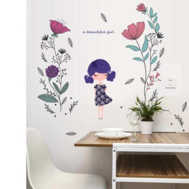 Fashion Beautiful Girl Wall Sticker Baby Girls Bedroom Decor Decoracion  Infantil Flower Door Stickers Kids Birthday Gifts XN184
