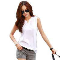 Summer Comfortable Cotton Breathable Sleeveless Casual T Shirt Women V Neck Solid Color Plus Size Tops