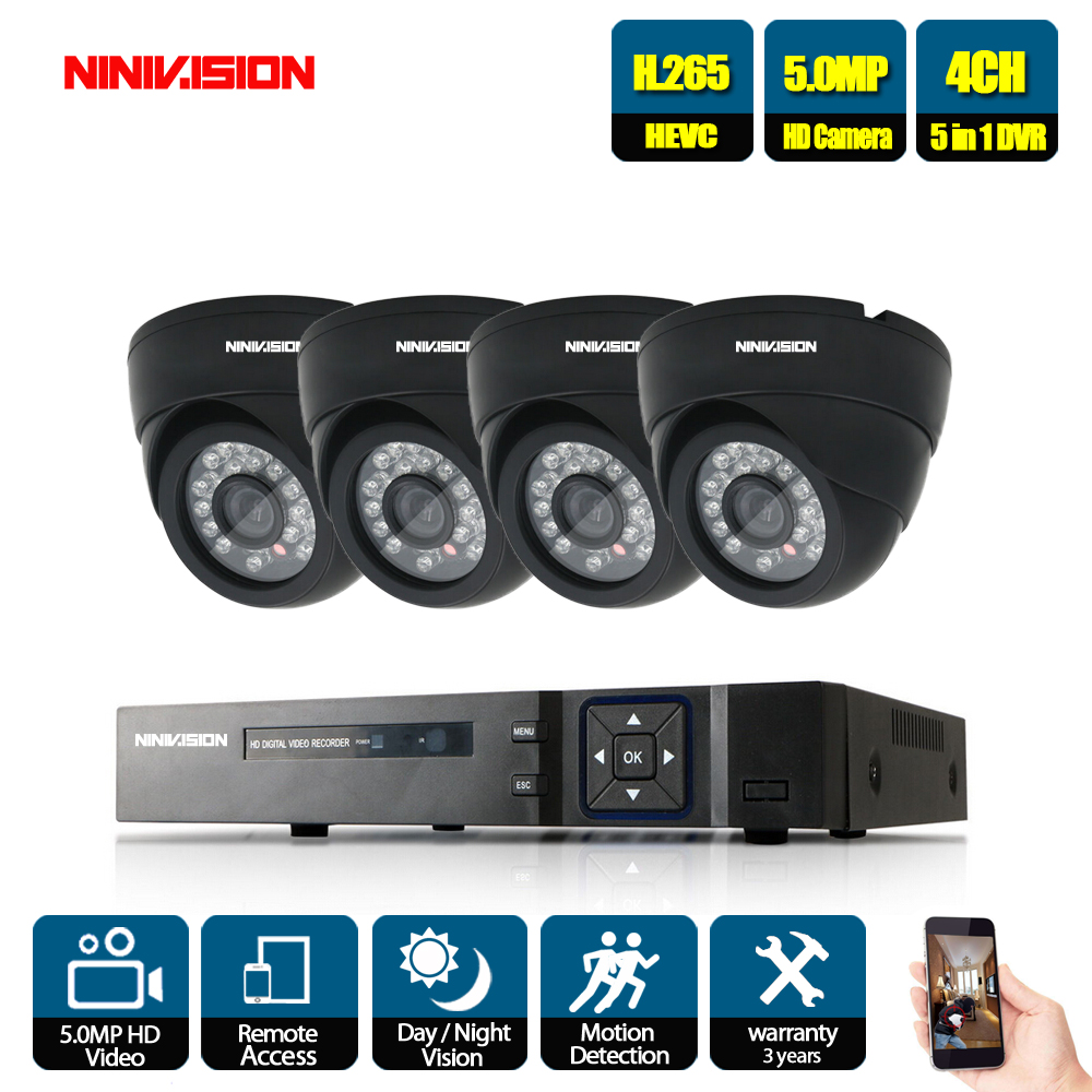 NINIVISION 4CH 5MP DVR Audio Record CCTV Security System 5MP Dome ahd Camera IR CUT P2P