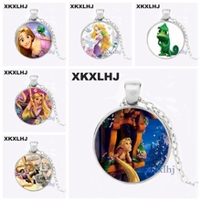XKXLHJ New Fashion Long Hair Princess Jewelry Necklace Beautiful Rapunzel Princess Glass Round Necklace Girl Necklace christina croft most beautiful princess