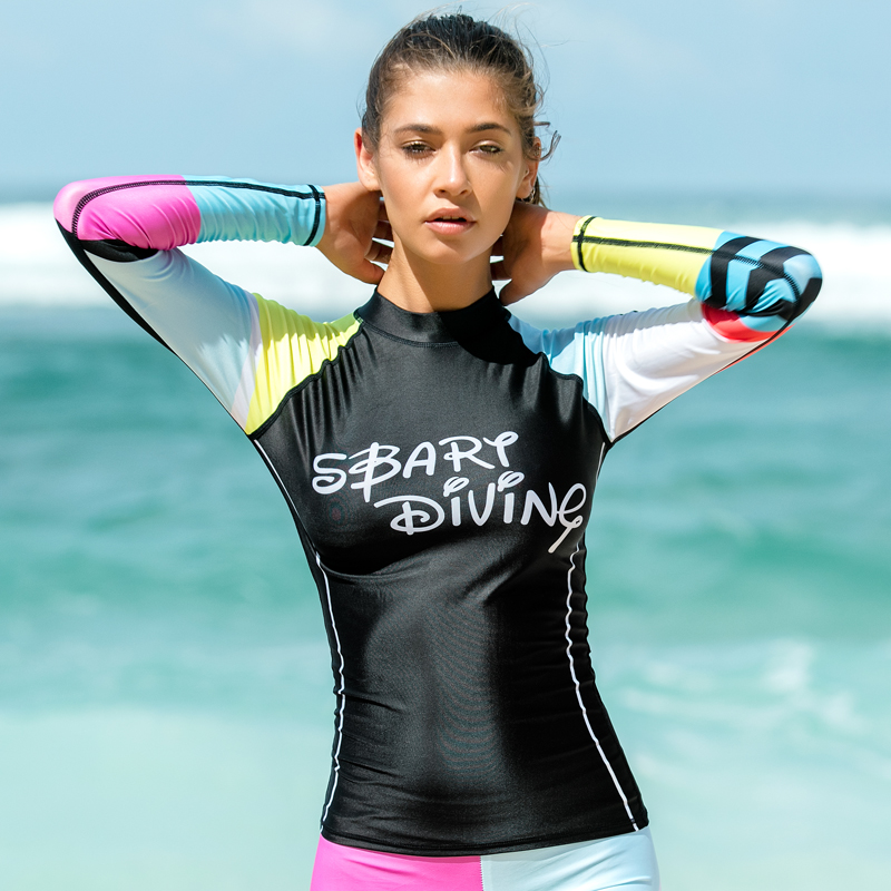 f53a6fa00398 SBART mujeres protector solar de manga larga Rash guardia traje de baño  camisetas de natación para baño protección UV chica Rashguard traje de baño  chaqueta ...