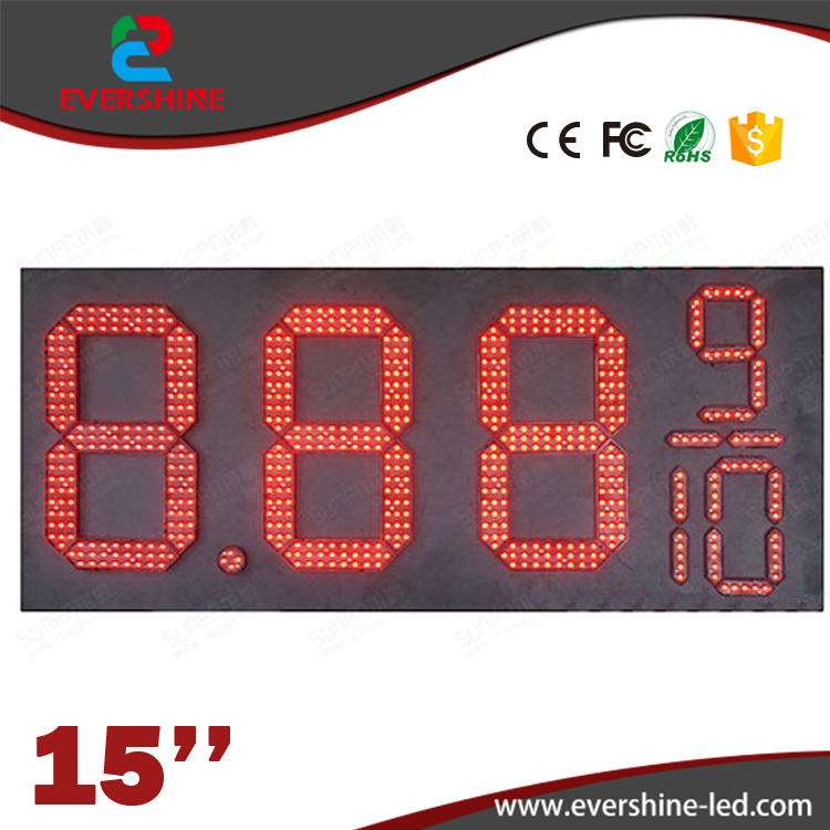 Hotsale 15'' 8889/10 Red Color Outdoor waterproof LED Digital Number Gas Oil Price LED Sign Board for Gas Station led display 1 sign red digit number board indoor led exchange rate board language for kazakhstan